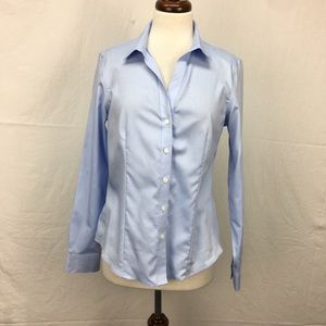 Jones New York Blue Fitted Button Down Top